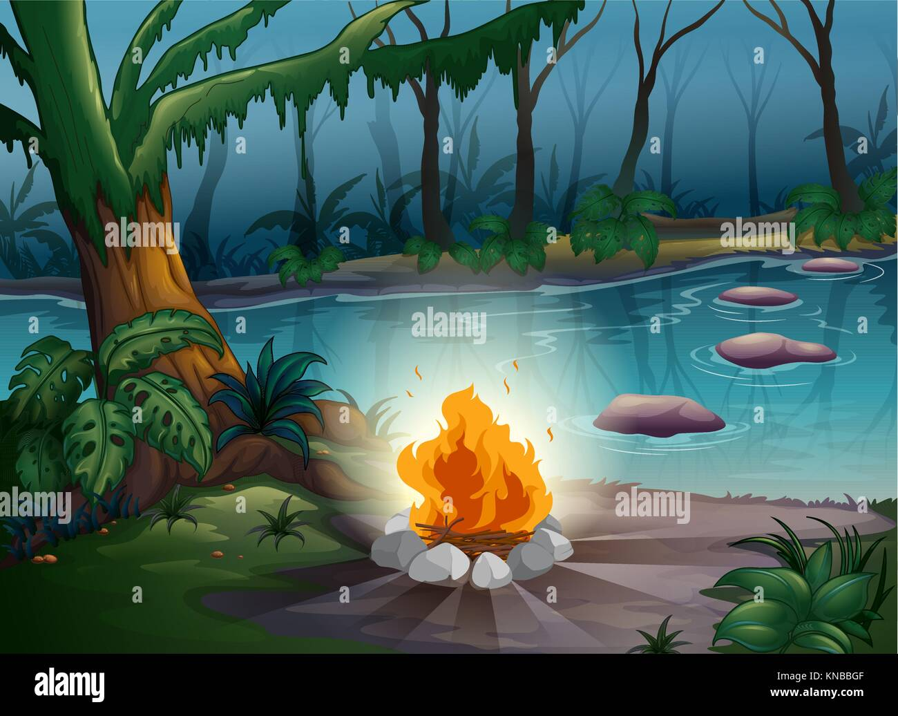 illustration of a camp fire in a beautiful nature - Stock Vector