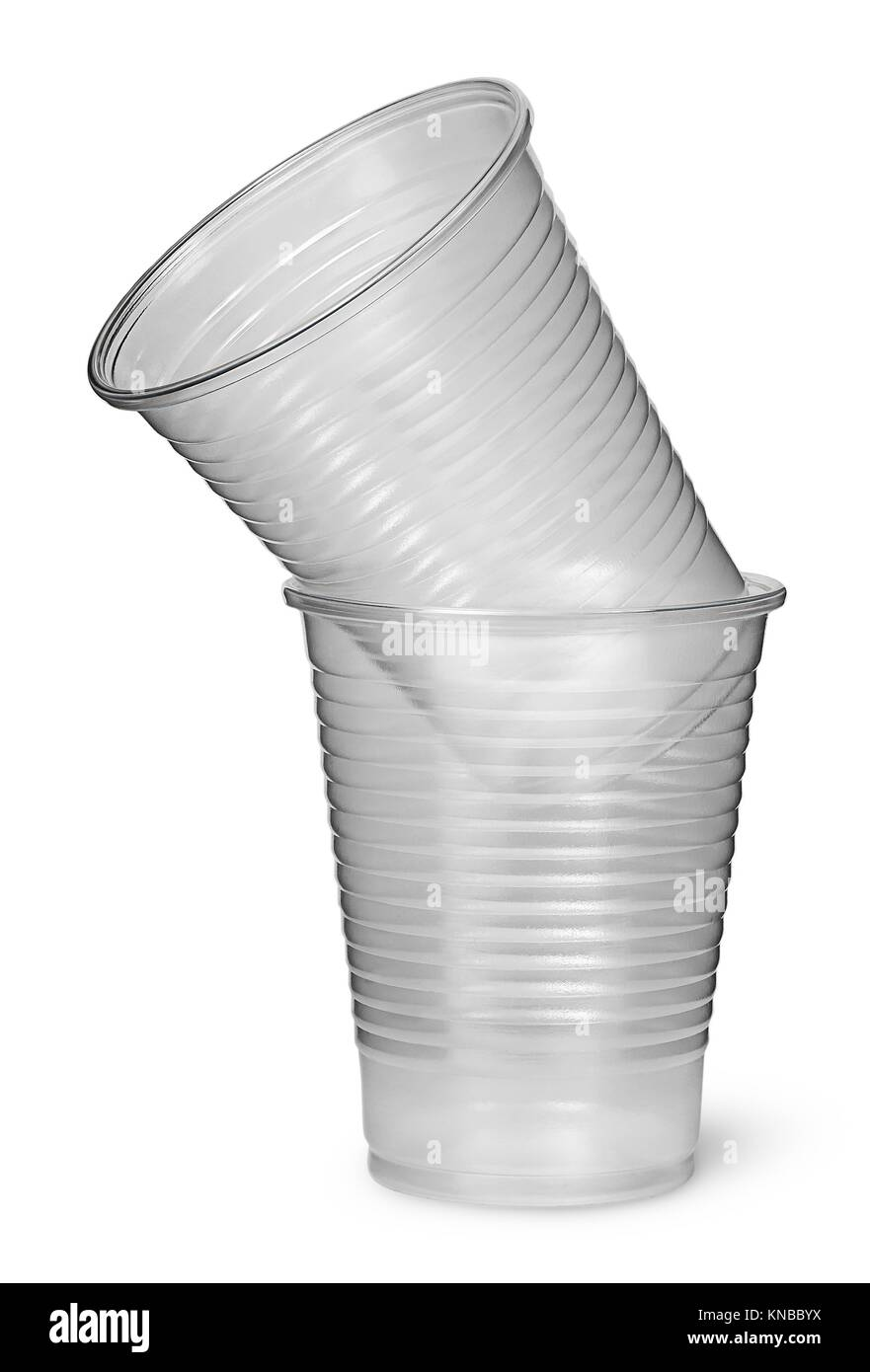 Two plastic cups each other isolated on white background. Stock Photo