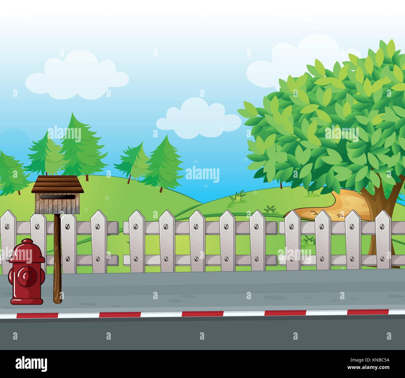 Illustration of a letter box and a fire hydrant on a roadside - Stock Vector