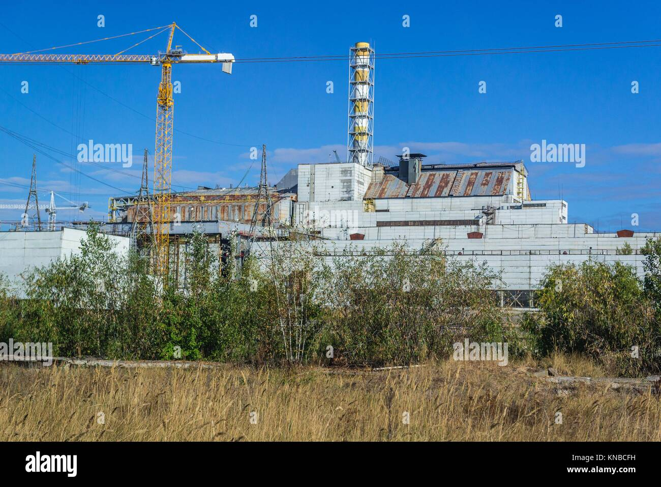 Reactor No 4 of Chernobyl Nuclear Power Plant in Zone of Alienation, 30 km radius exclusion area around the nuclear - Stock Image