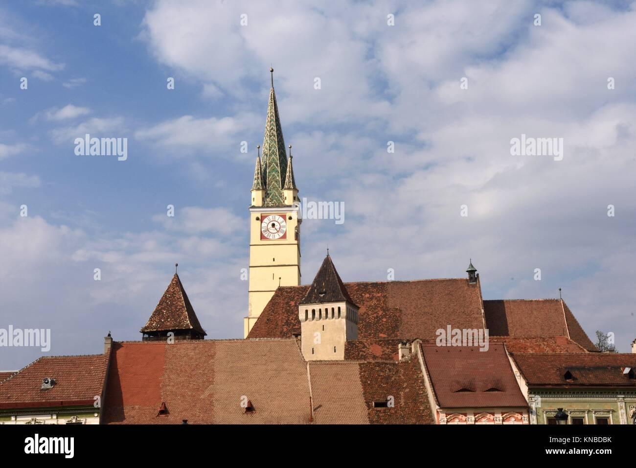 The Fortified Saxon Church of Medias,Transylvania, Romania. - Stock Image