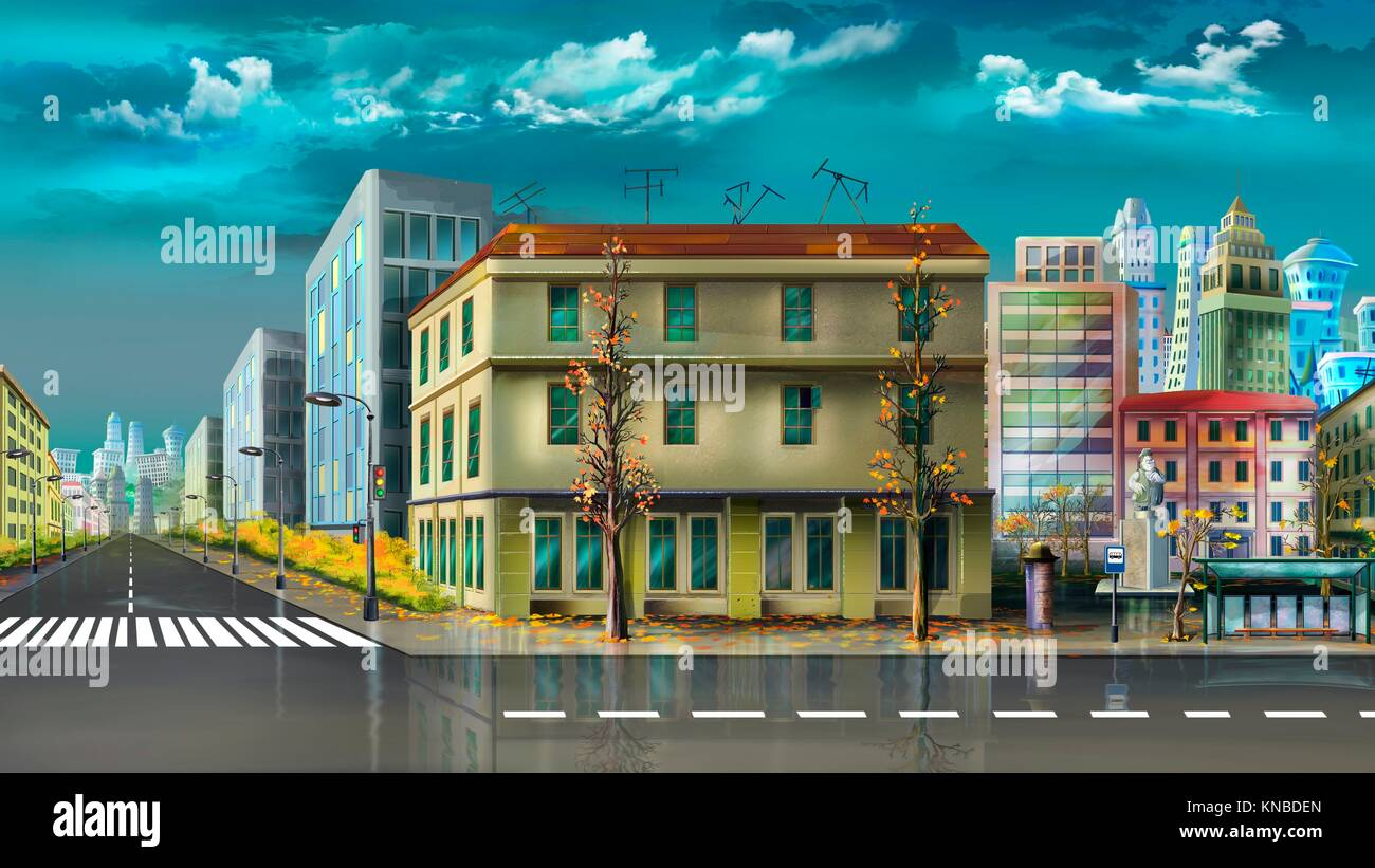 Digital painting of the Cityscape after summer rain. - Stock Image