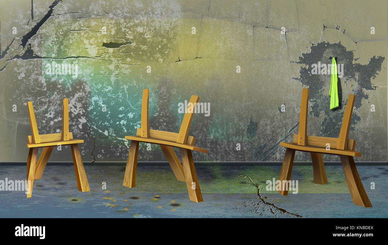 Digital painting of the Three easel. - Stock Image
