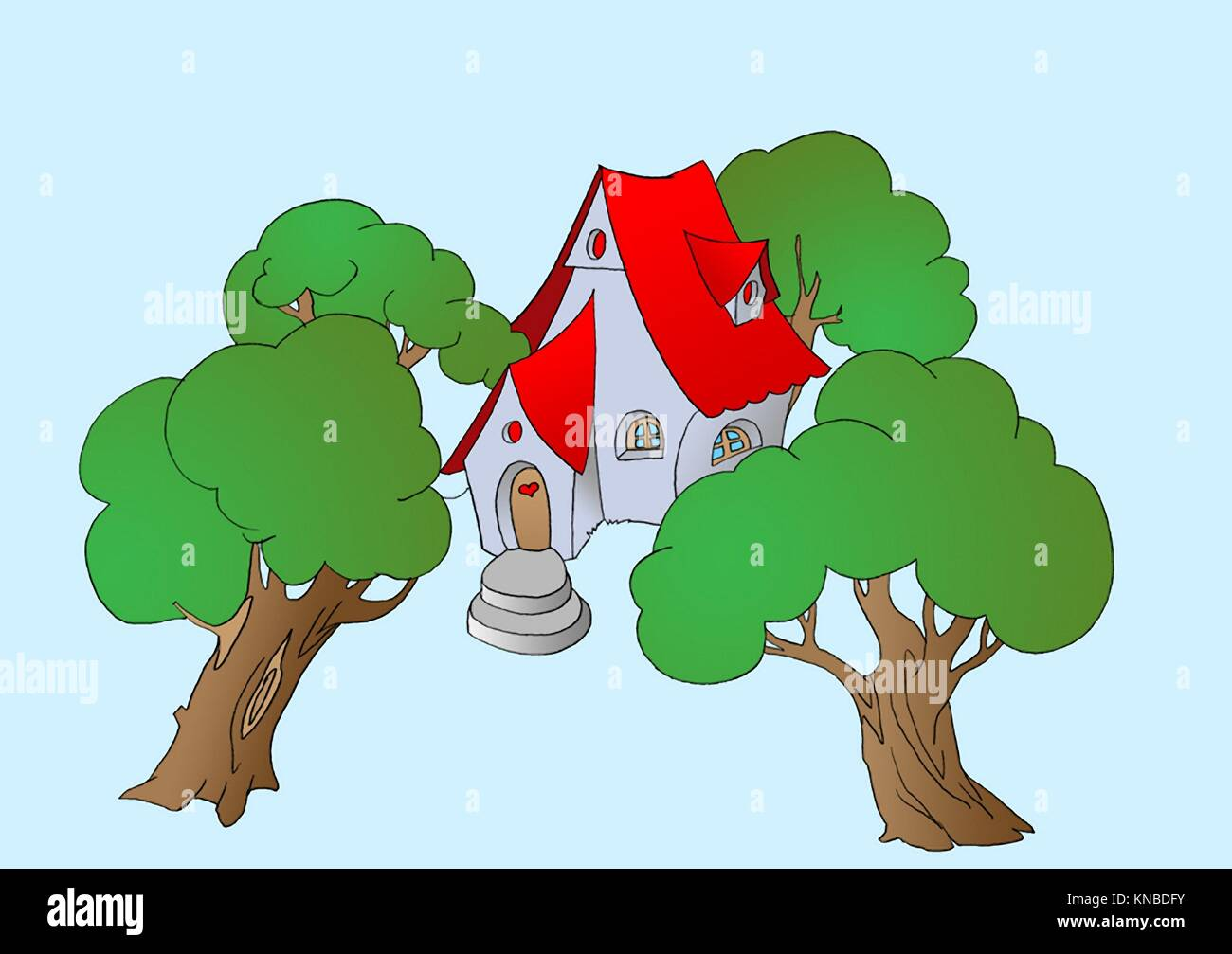 Trees Near a Small Fairy Tale House. Digital Painting Background, Illustration in primitive cartoon style character. - Stock Image