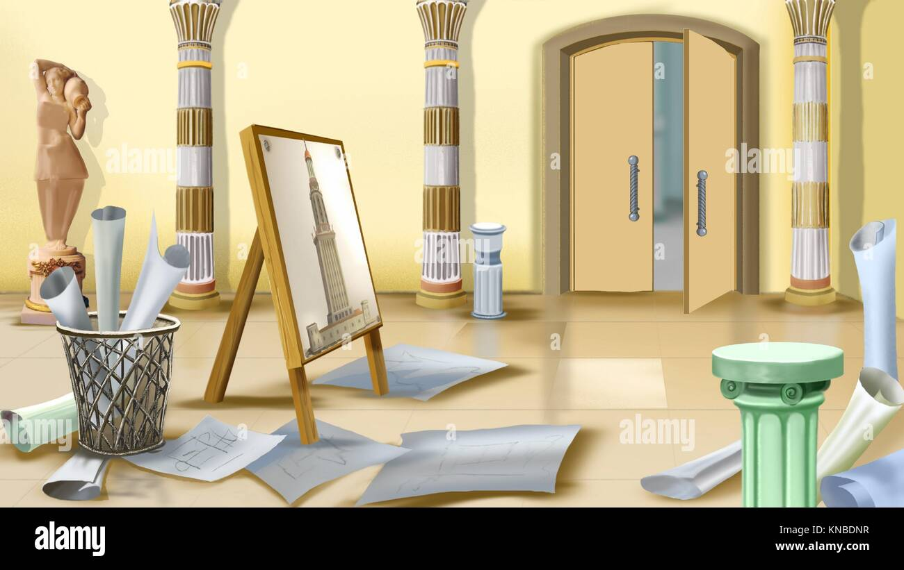 Digital painting of the workplace of Architect. - Stock Image
