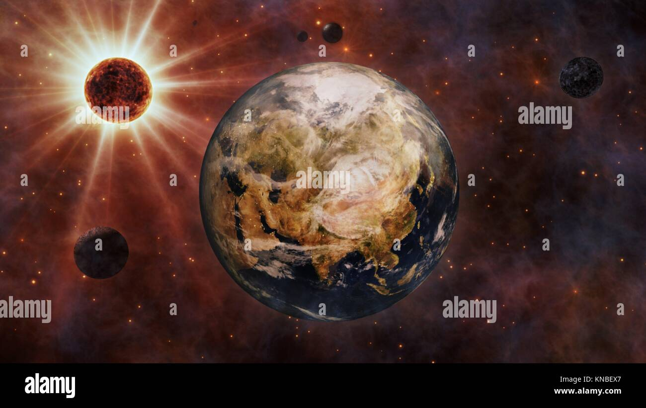 Planet Earth, The Sun, The Moon and Planets In Space. - Stock Image