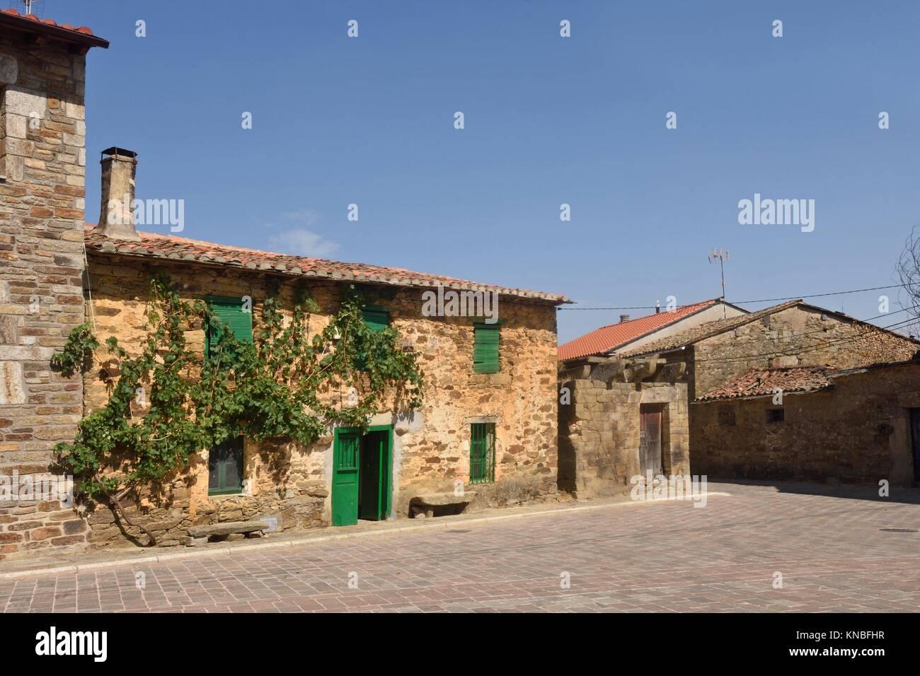 Village of villardeciervos, Sierra de La Culebra, Zamora province,Spain. Stock Photo