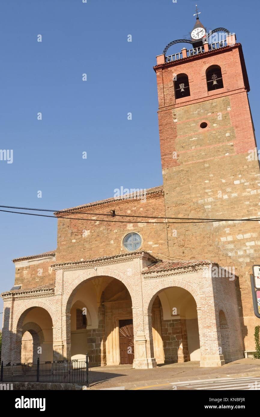 church of la Asuncion Osorna la Mayor, Tierra de Campos Region, Palencia province, Spain. - Stock Image