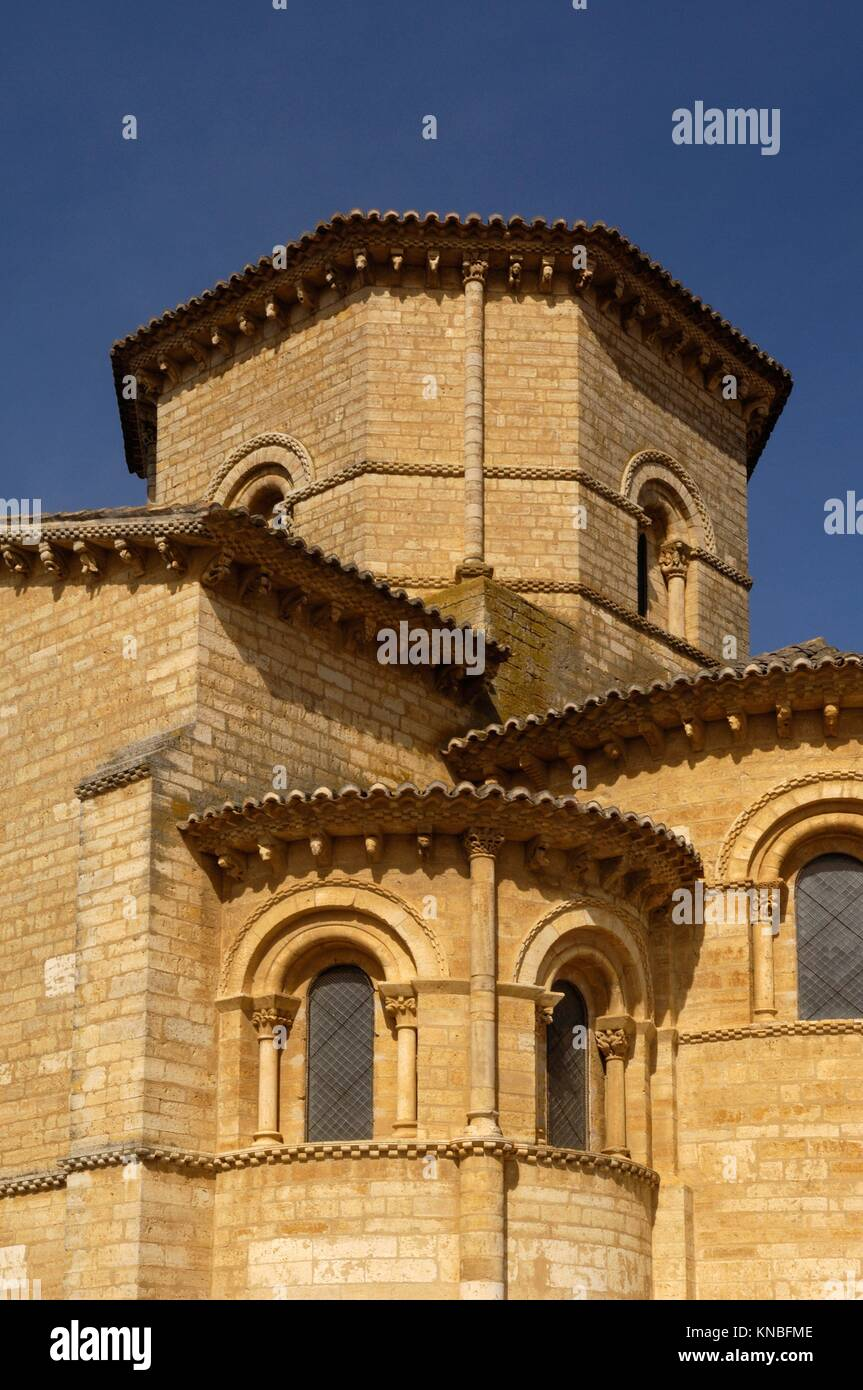 detail of San Martin de Tours Church, Fromista, Castilla y Leon, Palencia, Spain. - Stock Image