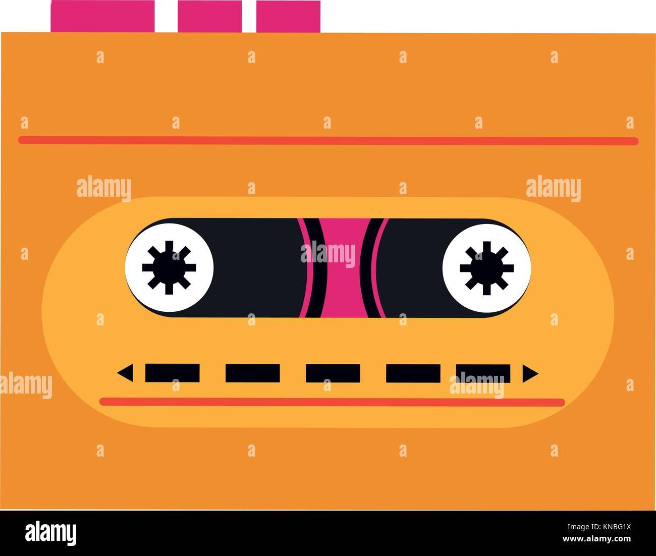 Old cassette recorder pop art colors - Stock Image