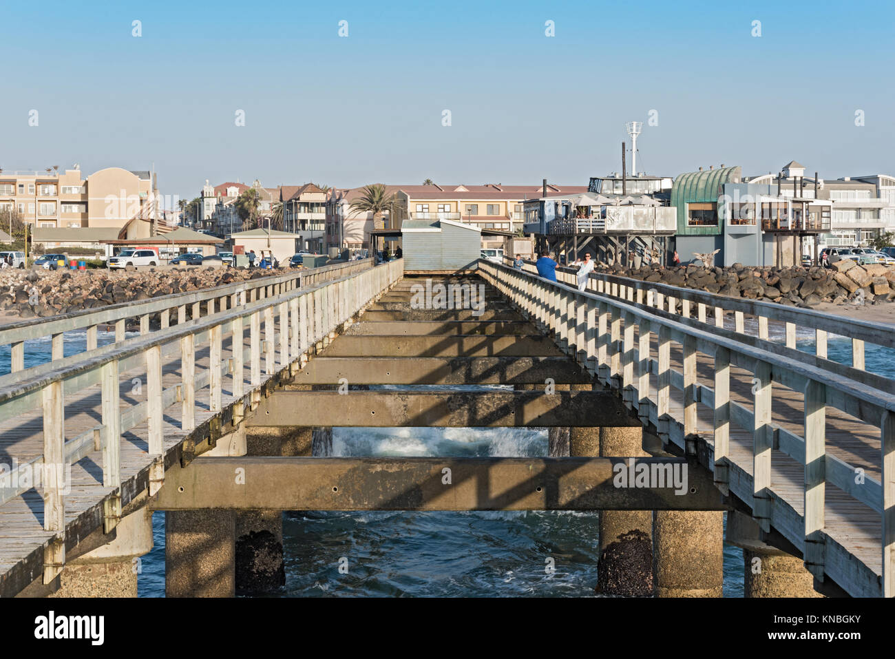 The historic jetty of Swakopmund, Namibia - Stock Image