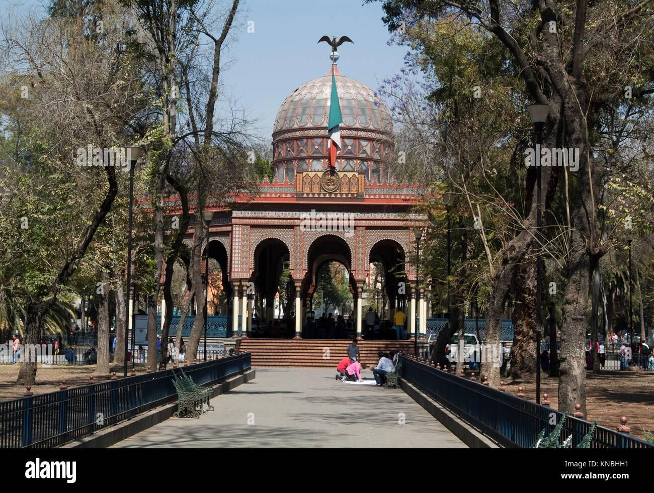 Morisco Kiosk in Alameda de Santa Maria La Ribera, plaza in Mexico City, Mexico. - Stock Image