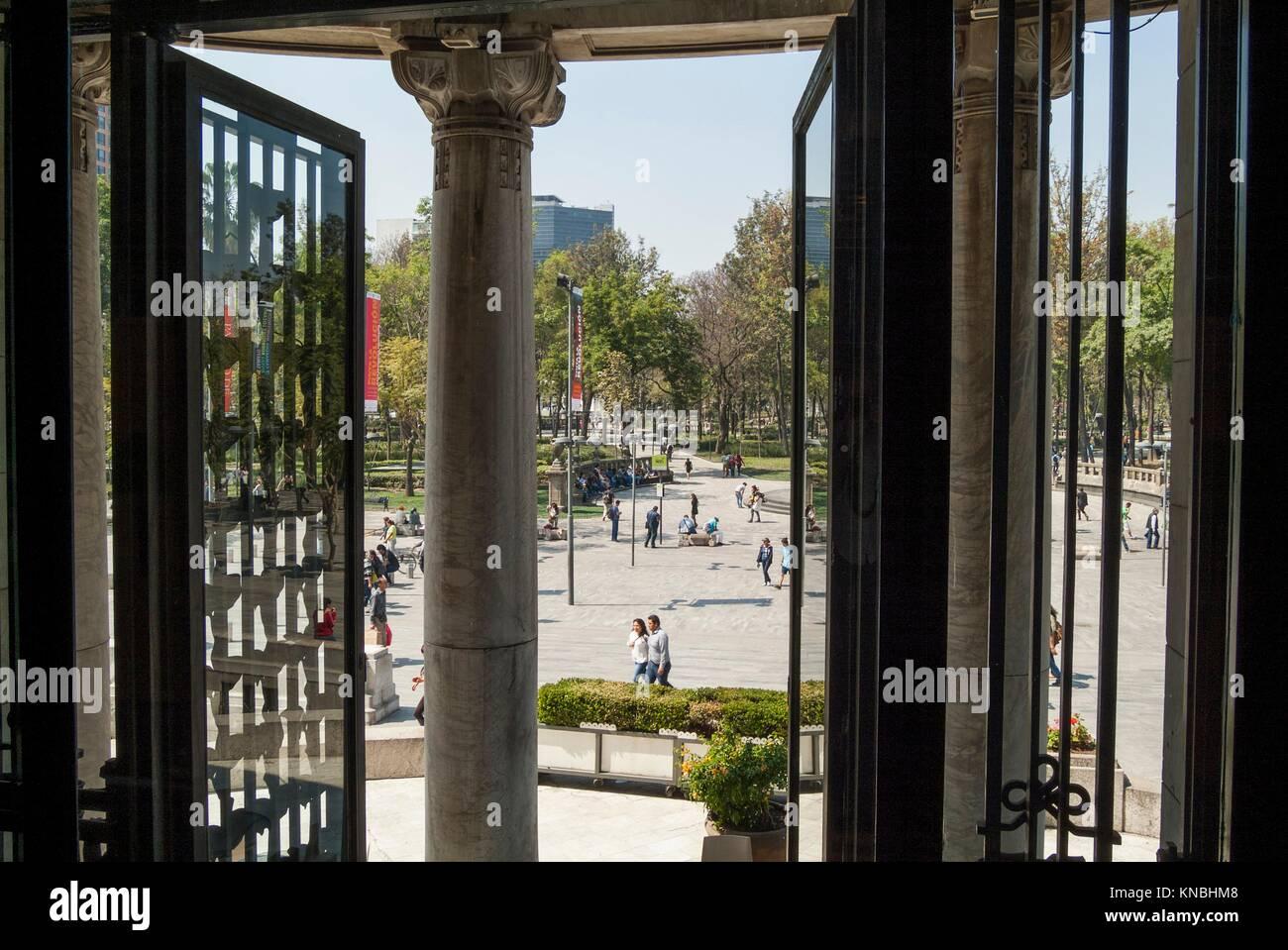 View from the dining room of the Palacio de Bellas Artes in Mexico City, Mexico toward Alameda park. - Stock Image