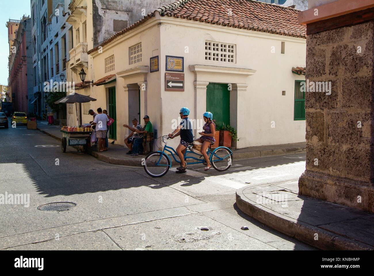 intersection in the old town, Cartagena, Colombia. Stock Photo