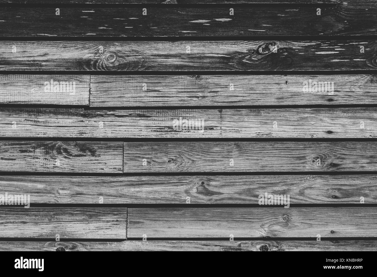 horizontal wood background. The Wood Background From Old Horizontal Boards. Black And White Photography.
