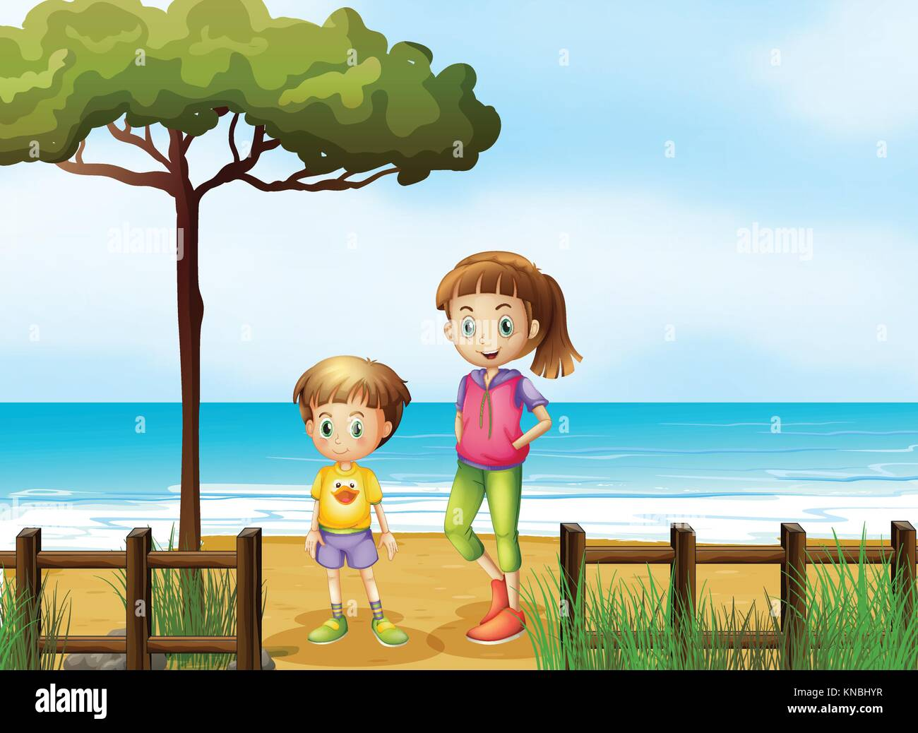 Illustration of a smiling boy and a girl standing on a beach - Stock Vector