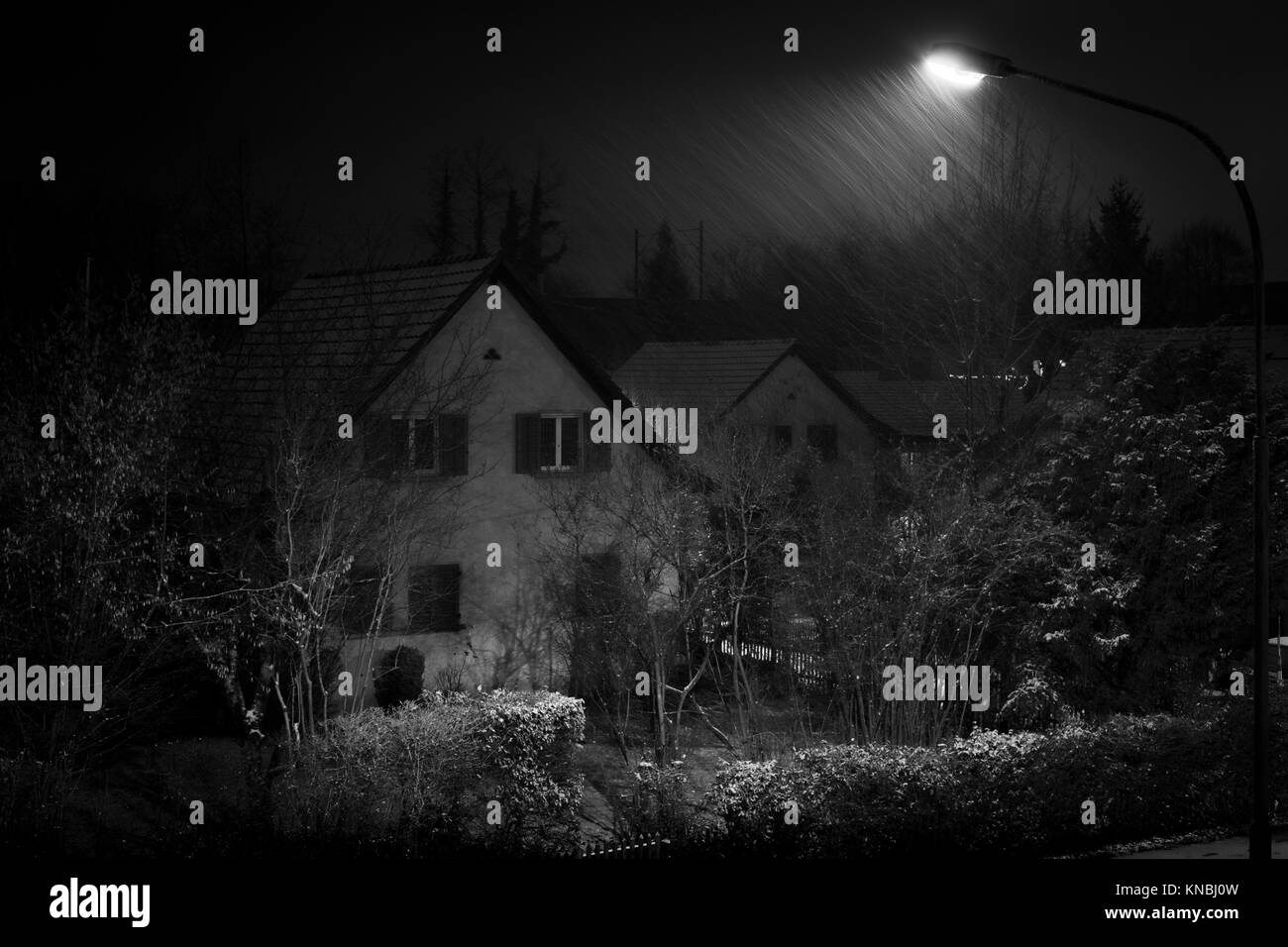 It's snowing, Bülach, Canton of Zürich, Switzerland. - Stock Image