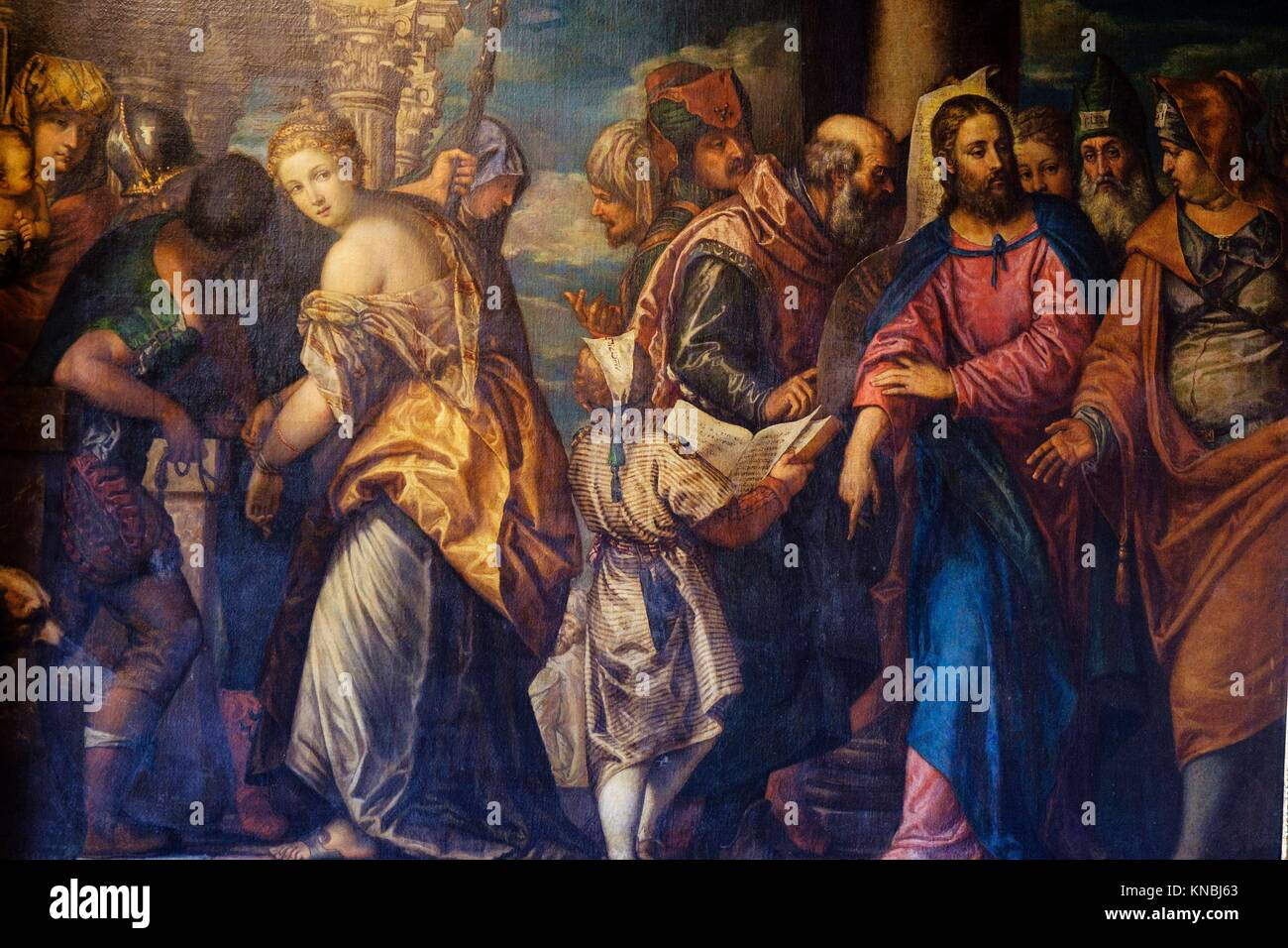 Christ and the Woman Taken in Adultery, Paolo Caliari, (known as Paolo Veronese), Count Branicki ´s castle, - Stock Image