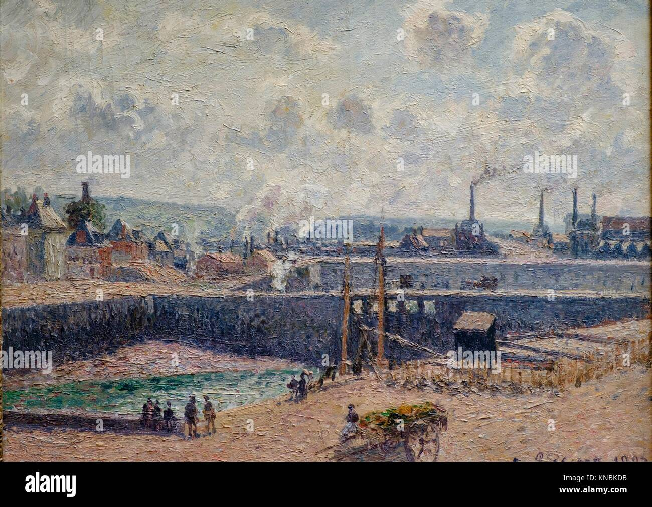 Camille Pissarro,. Dieppe, bassin Duquesne. Marée basse, soleil, matin,. 1902,. huile sur toile, Orsay Museum, - Stock Image