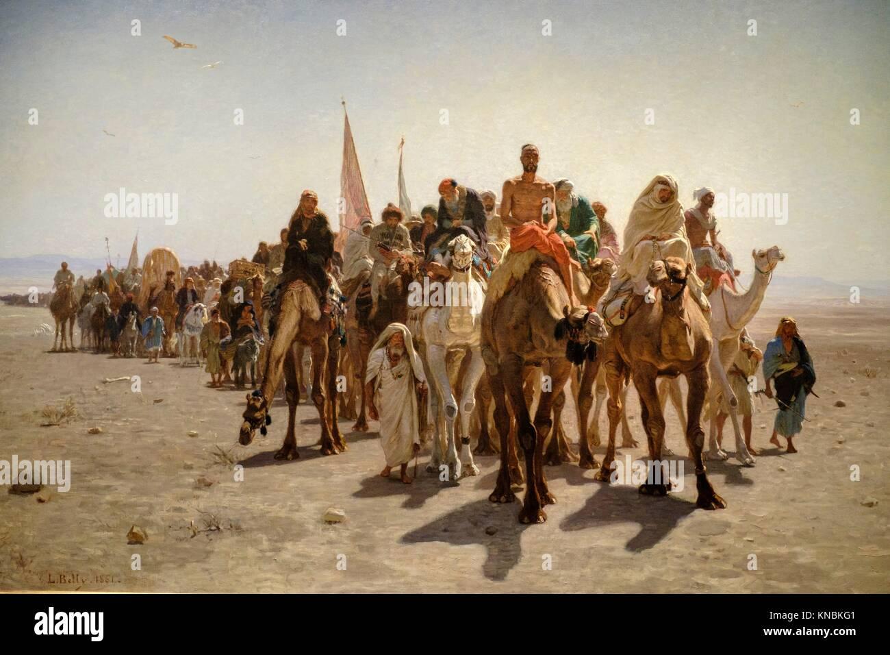 Léon Belly (1827-1877),. Pèlerins allant à La Mecque,. 1861,. Huile sur toile, Orsay Museum, Paris, - Stock Image