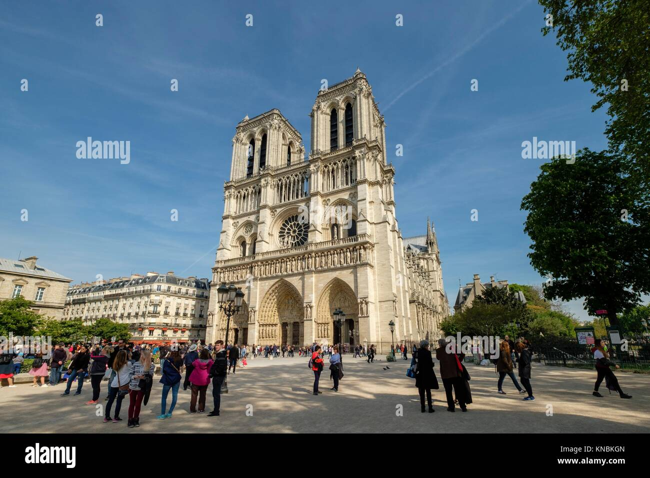 Western facade, Notre Dame Cathedral, Paris, France - Stock Image