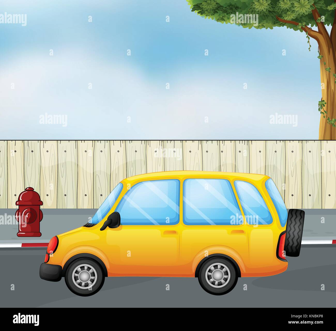 Illustration of a yellow car - Stock Vector