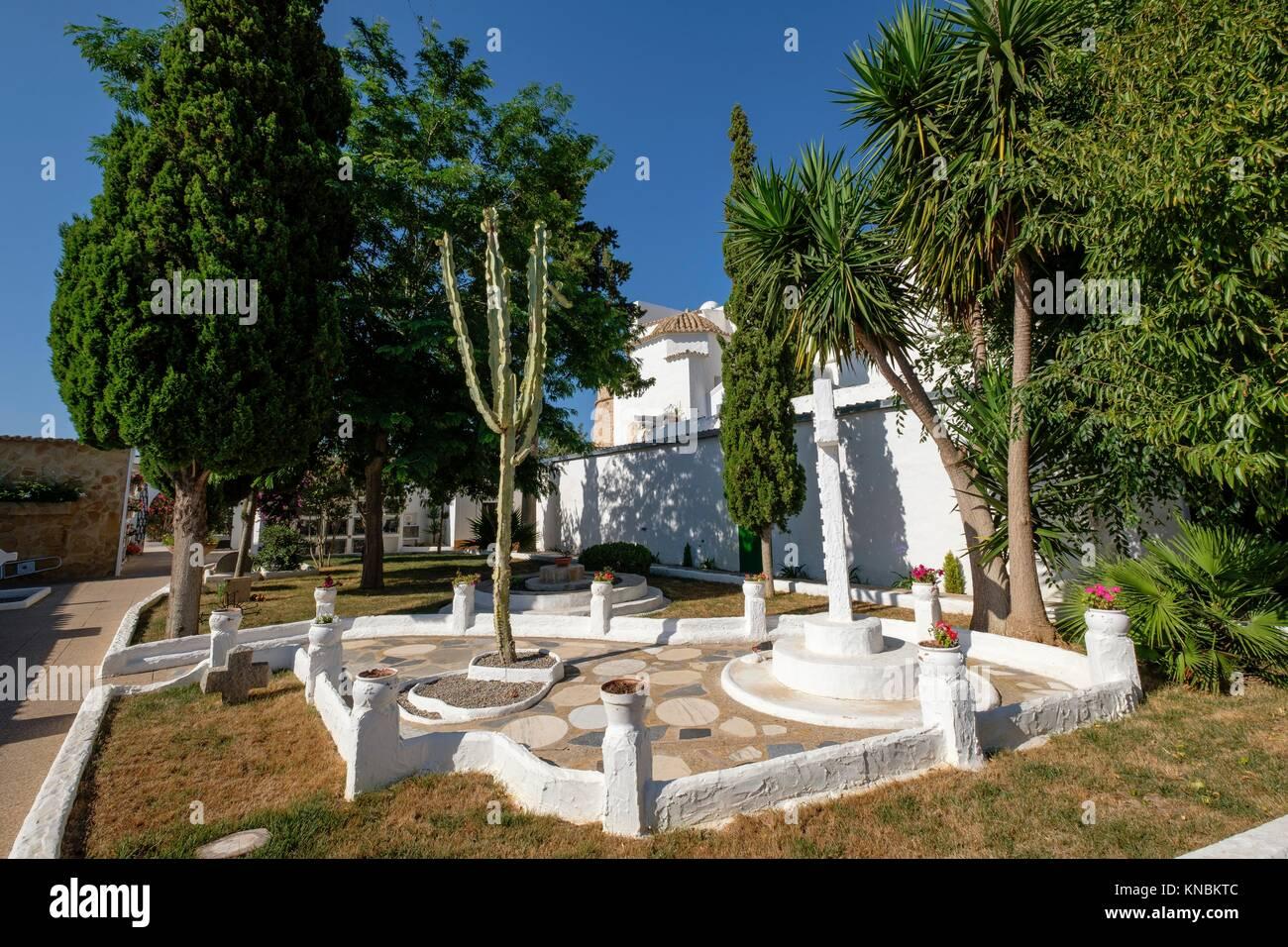 Poeta Isidor Macabich´s garden, Cemetery of Santa Eulària (Puig de Missa), Santa Eulària del Riu, Ibiza, Balearic Stock Photo