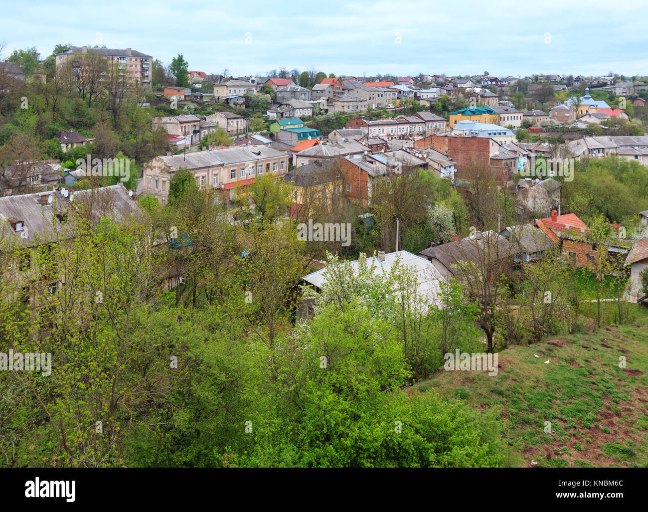 Panoramic spring view of Buchach town (Ternopil Oblast, Ukraine). Stock Photo