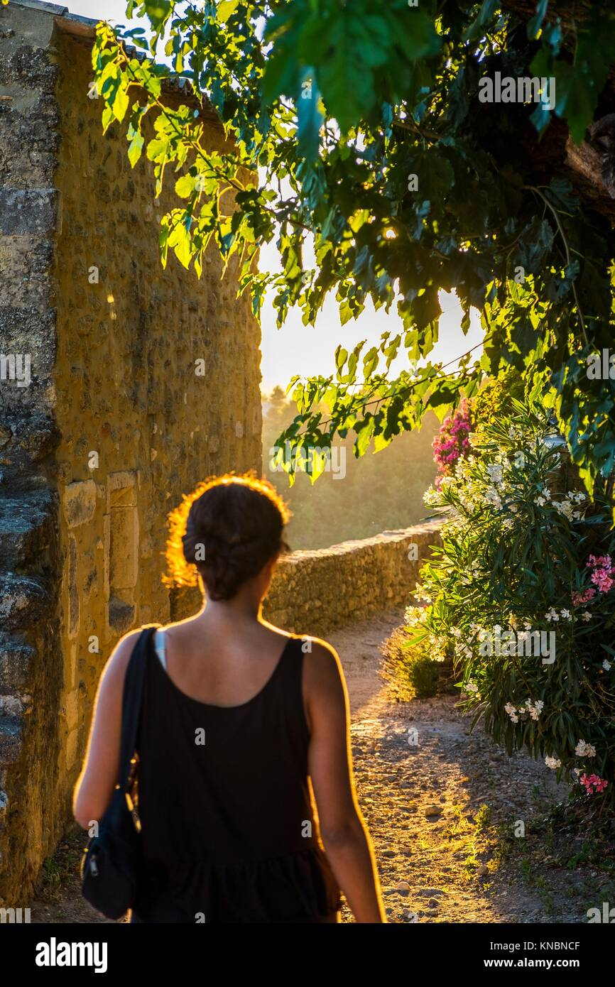 Traveling in the village of Menerbes Luberon Provence France Europe. - Stock Image