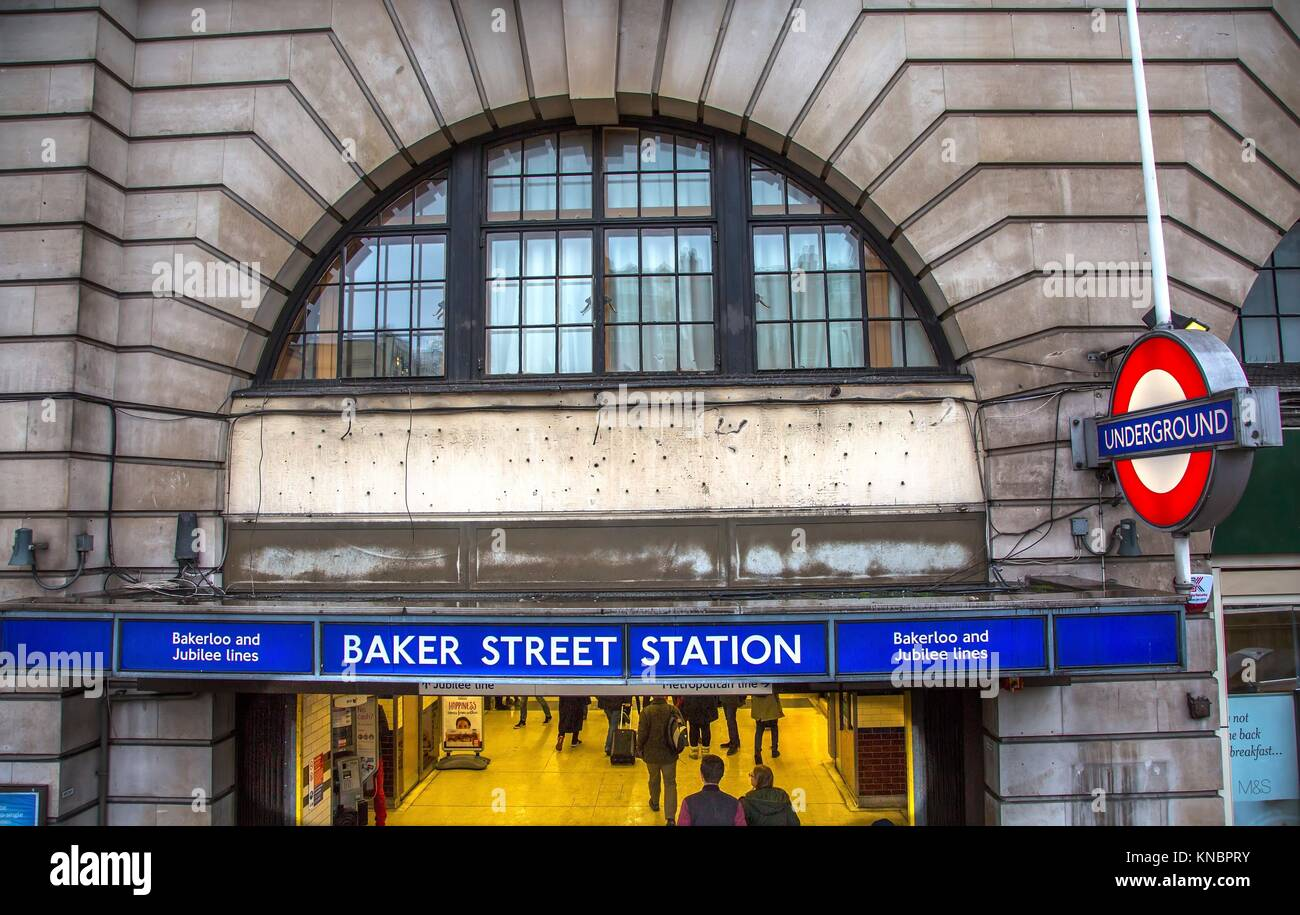 Baker Street Metro Subway Station London England. Tube Metro station Baker Street, home of fictionary character - Stock Image