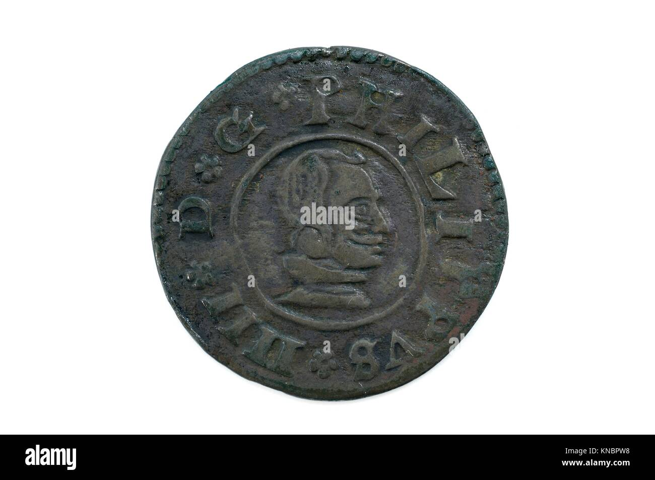 Felipe IV, 1663, 16 Maravedis, spain coin. - Stock Image