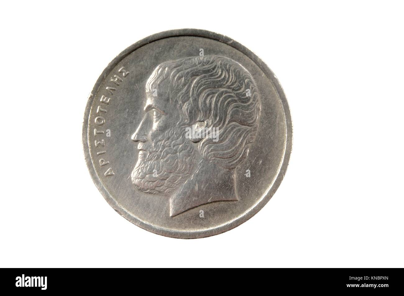 Greek Drachma Coin, 5 drachmas. - Stock Image