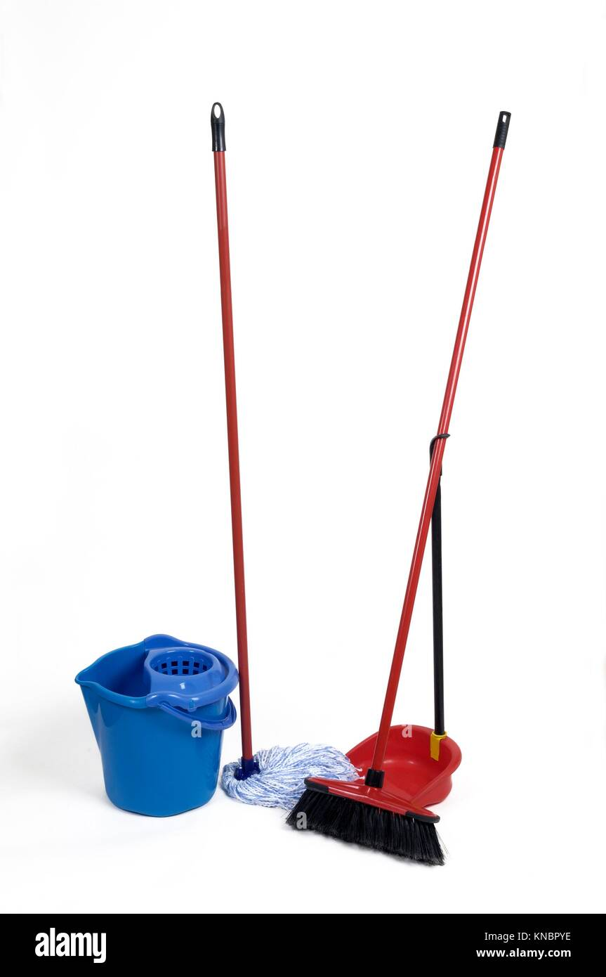 mop and broom. - Stock Image