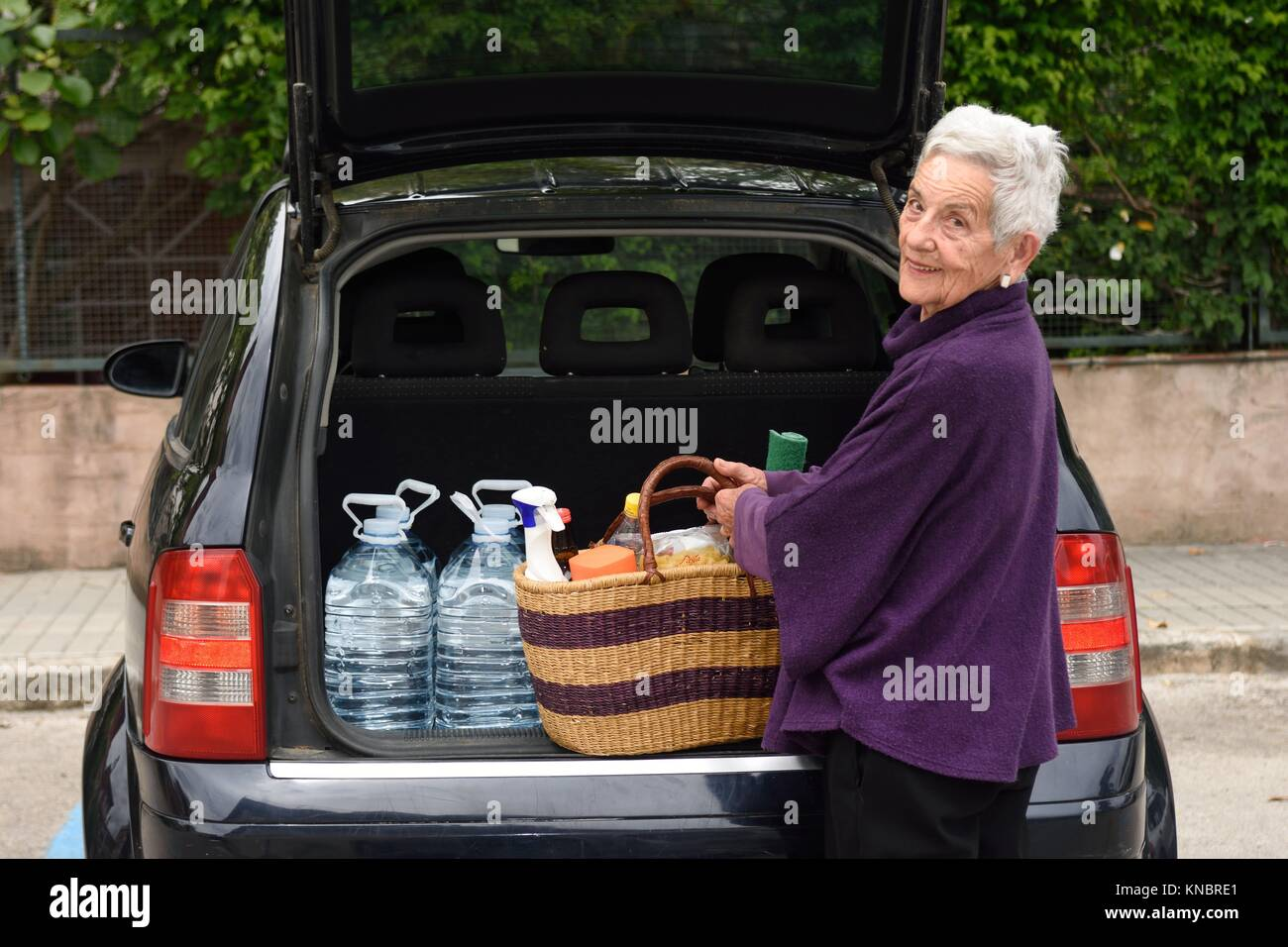 Old woman downloading the car purchase Stock Photo: 168060985 - Alamy