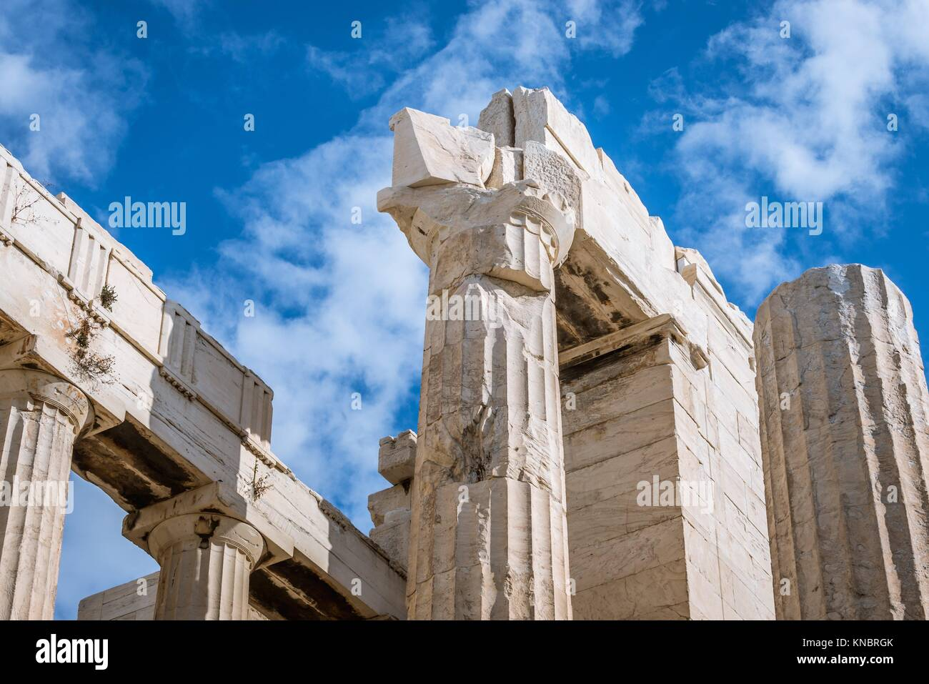 Close up on monumental gateway called Propylaea, entrance to the top of Acropolis of Athens city, Greece. - Stock Image