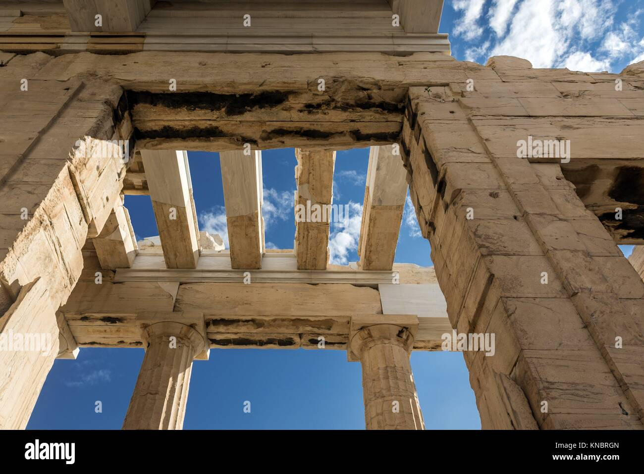 Monumental gateway called Propylaea, entrance to the top of Acropolis of Athens city, Greece. Stock Photo
