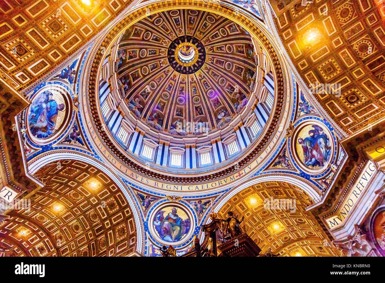 Michelangeolo Dome Saint Peter's Basilica Vatican Rome Italy. Dome built in 1600s over altar and St. Peter's - Stock Image