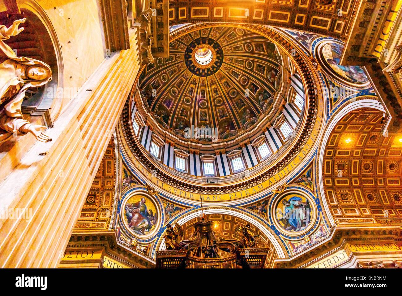 Mary Statue Michelangeolo Dome Saint Peter's Basilica Vatican Rome Italy. Dome built in 1600s over altar and - Stock Image