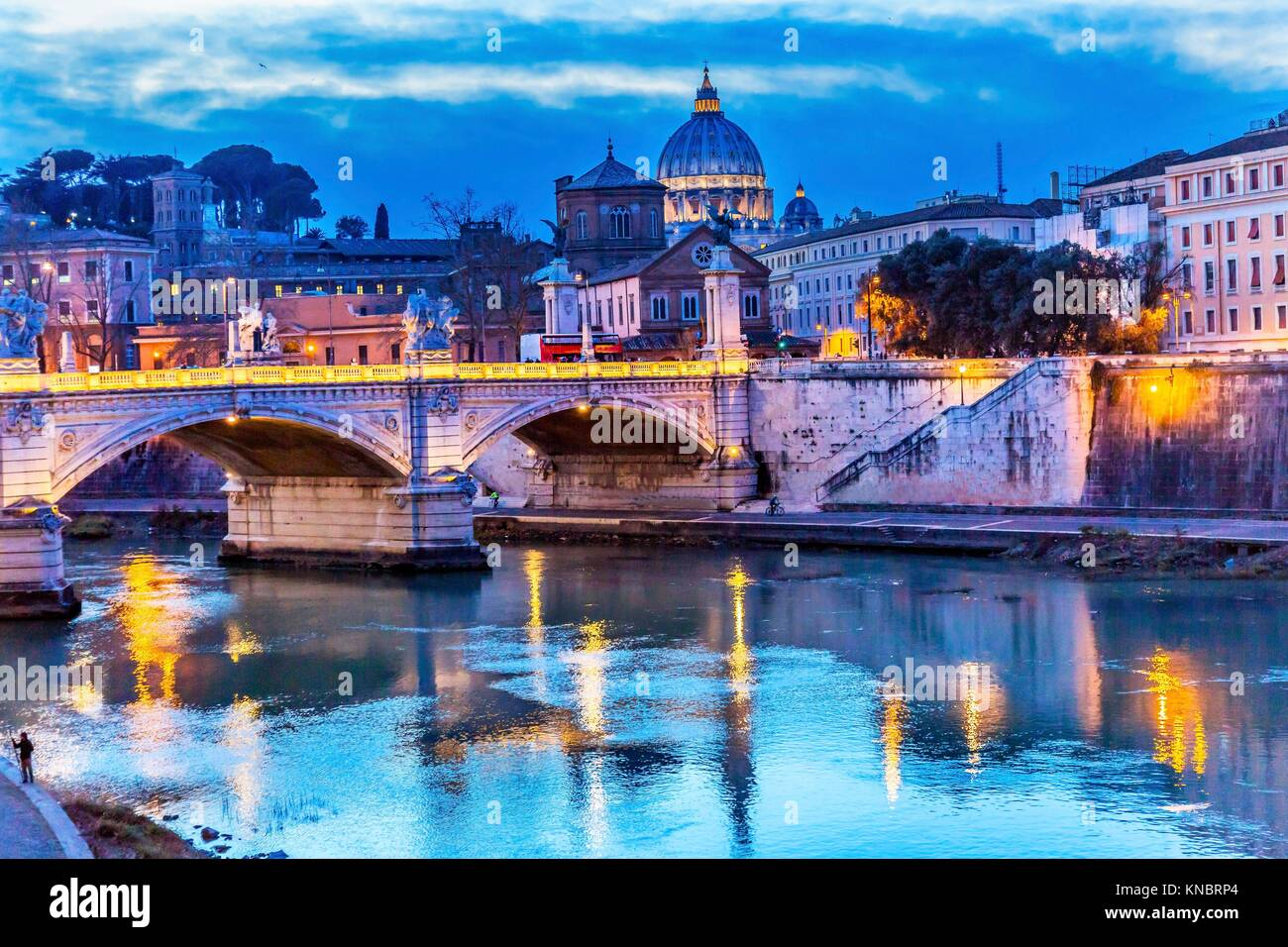 Vatican Dome Tiber River Ponte Bridge Vittorio Emanuele III Rome Italy. Bridge built in 1886 near Vatican. - Stock Image