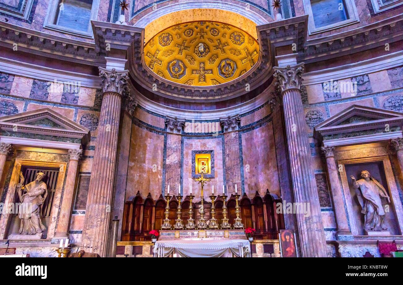Altar Pantheon Rome Italy Rebuilt by Hadrian in 118 to 125 AD the Second Century Became oldest Roman church in 609 - Stock Image