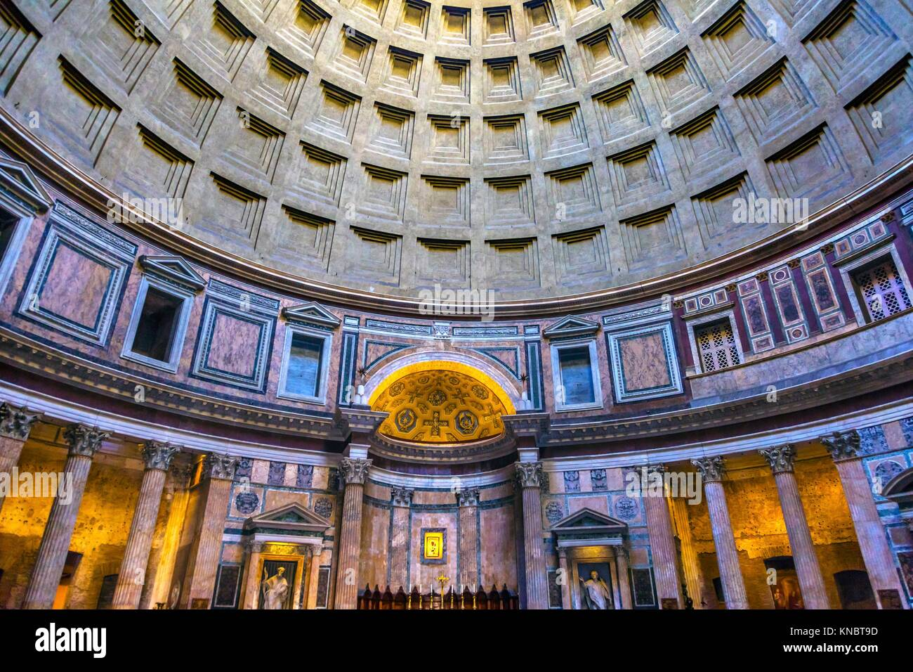 Dome Pillars Altar Pantheon Rome Italy Rebuilt by Hadrian in 118 to 125 ADthe Second Century Became oldest Roman - Stock Image