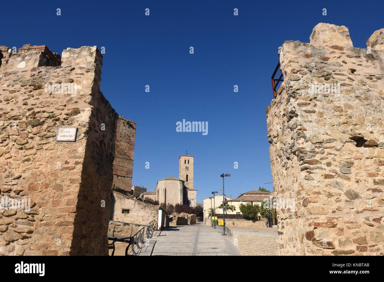 Walls and Santa Maria del Castillo; church; Buitrago de Lozoya; Comunidad; Madrid; Spain;. Stock Photo