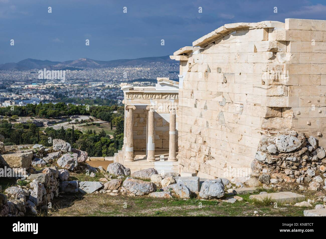Temple of Athena Nike in Acropolis of Athens city, Greece. Stock Photo