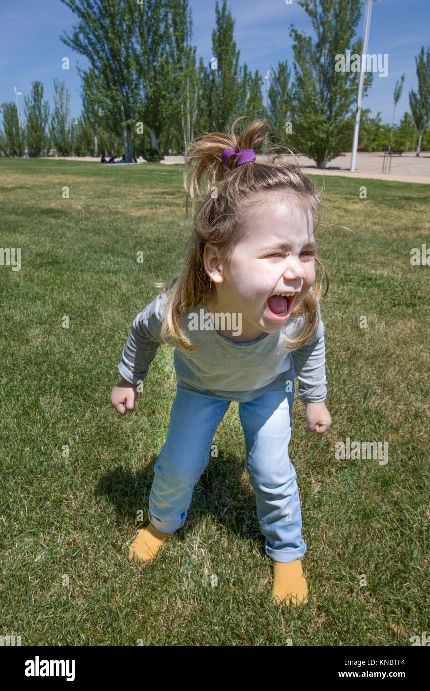 three years old blonde child, with pigtail and blue jeans, standing and shouting in green grass in public park named - Stock Image