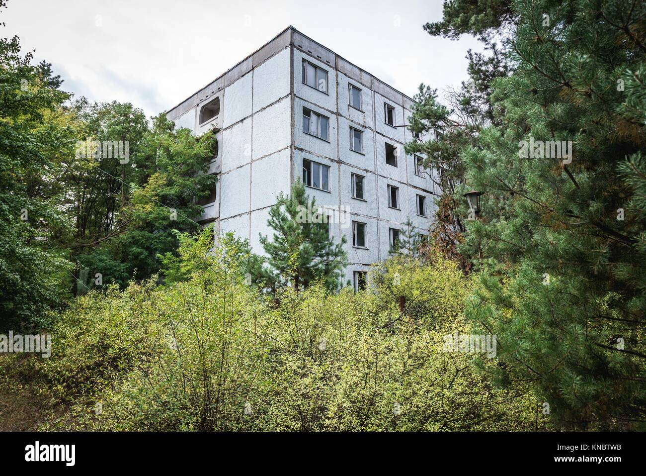 Block of flats in Pripyat ghost city of Chernobyl Nuclear Power Plant Zone of Alienation around nuclear reactor - Stock Image