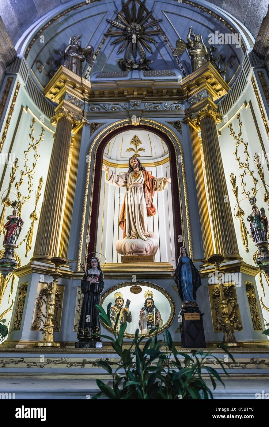 Side altar with Jesus statue in Saint Anthony's Church (also known as Church of the Congregates) in Santo Ildefonso - Stock Image