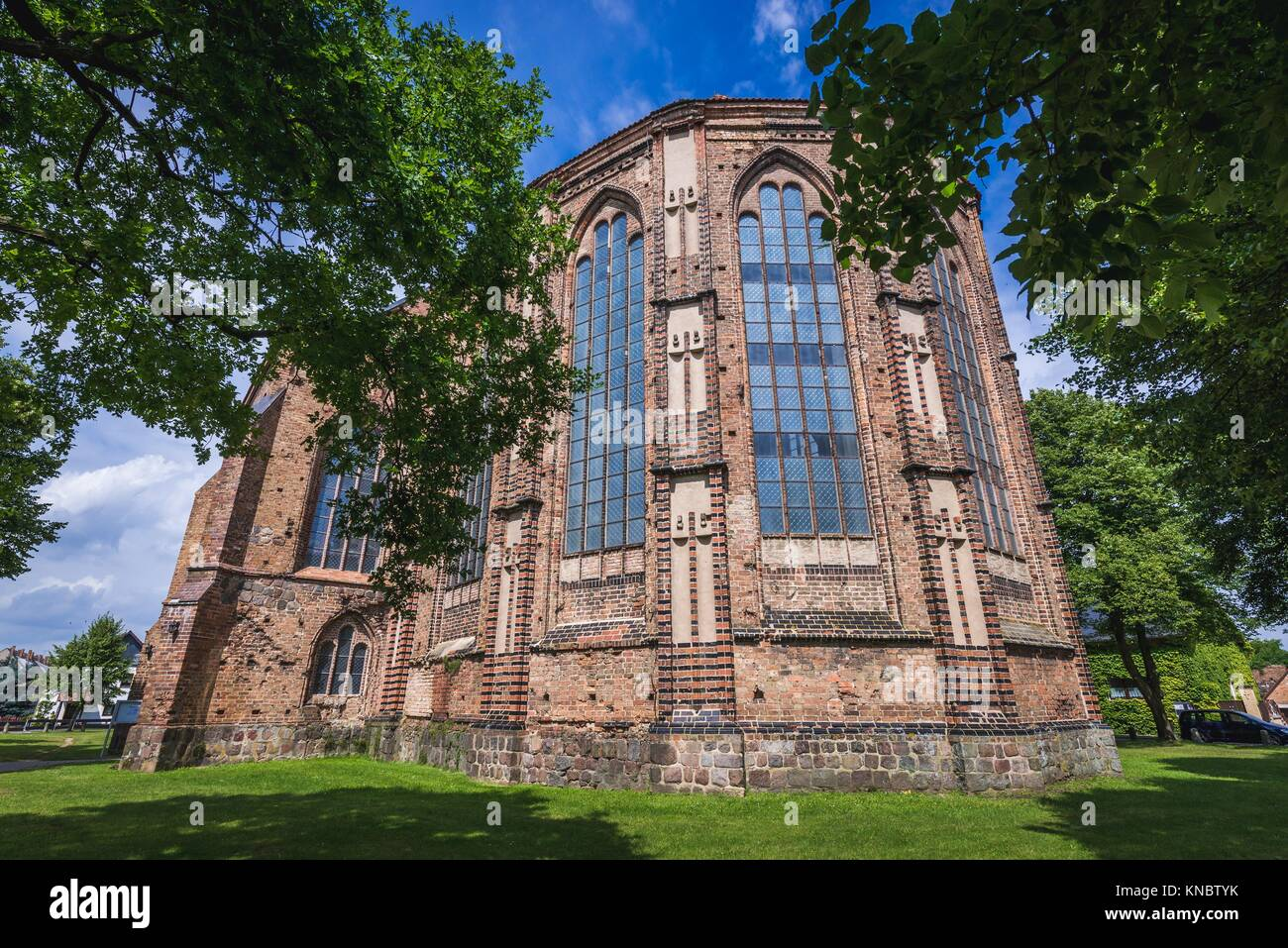 Exterior of Saint Stephen Church in Gartz town in the Uckermark district of Brandenburg federal state in Germany. - Stock Image