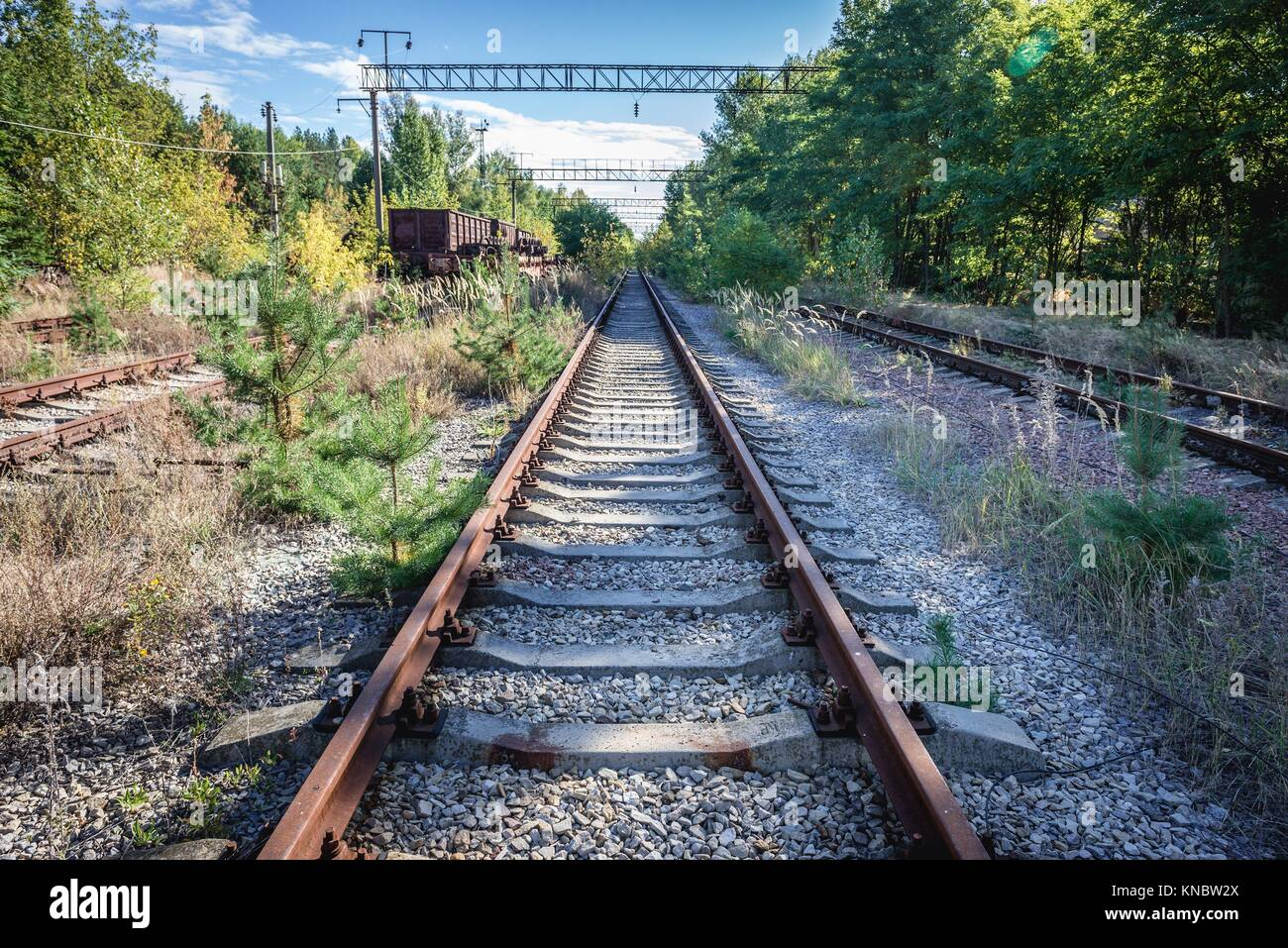 Abandoned Yaniv town railway station, Chernobyl Nuclear Power Plant Zone of Alienation around the nuclear reactor - Stock Image