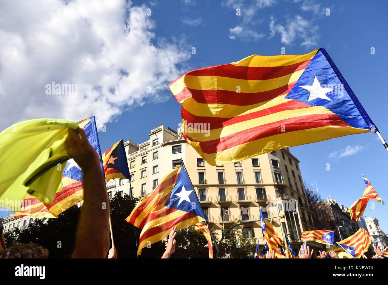 Independence manifestation in Barcelona, (SI) Arago Sreet, September 11, 2017. - Stock Image