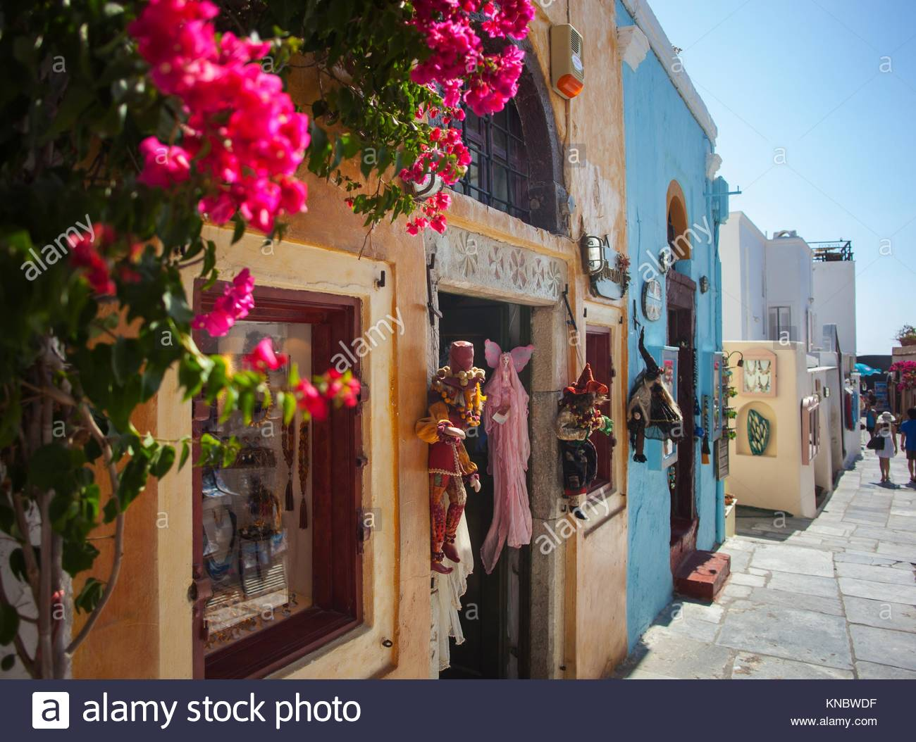 Santorini Island, Greece: Streets with stores. Santorini, classically Thera, and officially Thira, is an island - Stock Image